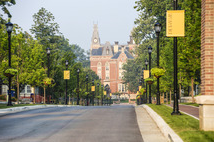East College at the end of Anderson Street