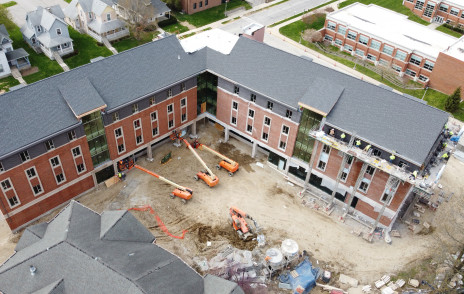 Drone photo of the overhead of residence hall 1 under construction.
